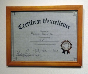 Adam Beanish - Certificat d'excellence