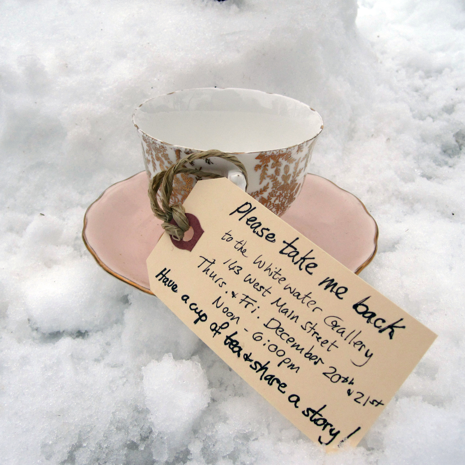 Tea Cups are being left around town as a way to draft in unsuspecting participants for a community art creation event.